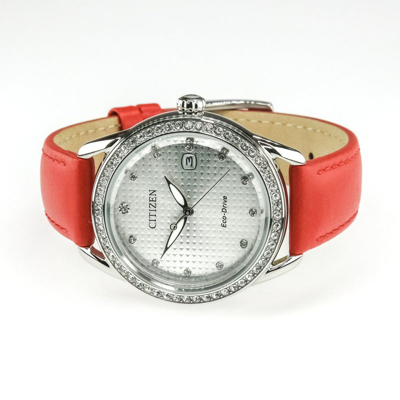 Citizen Eco-Drive LTR Red Leather Crystal Ladies' 37mm Watch FE6110-04A Watches Oaks Jewelry