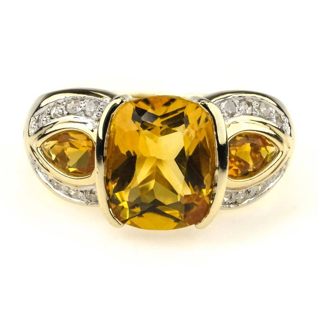 Citrine and Diamond Ring in 14K Yellow Gold Gemstone Rings Oaks Jewelry