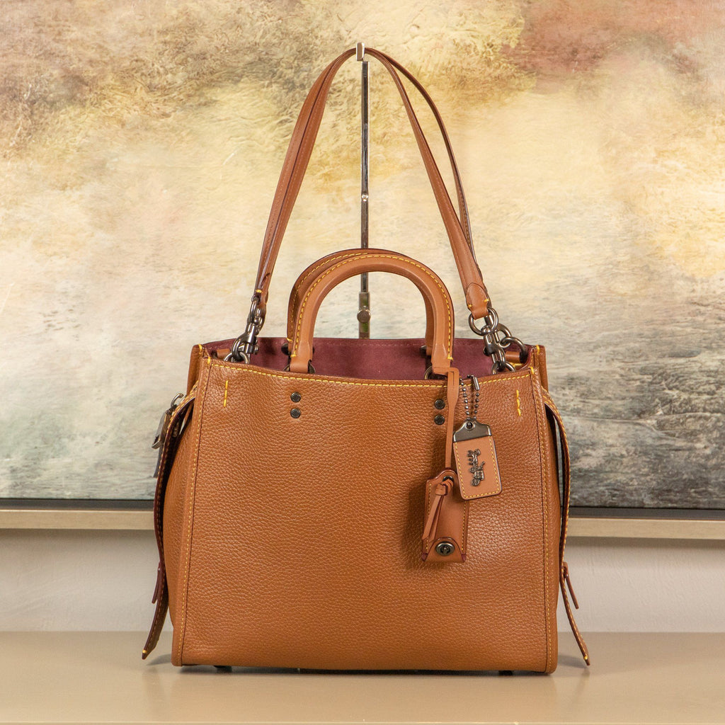 Coach 1941 Rouge PBB in Saddle and Wine Pebbled Leather Handbag 38124 Handbags Oaks Jewelry