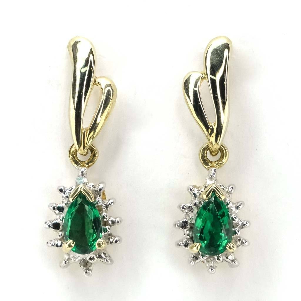 Created Emerald with Diamond Drop Dangle Earrings in 10K Yellow Gold Earrings Oaks Jewelry