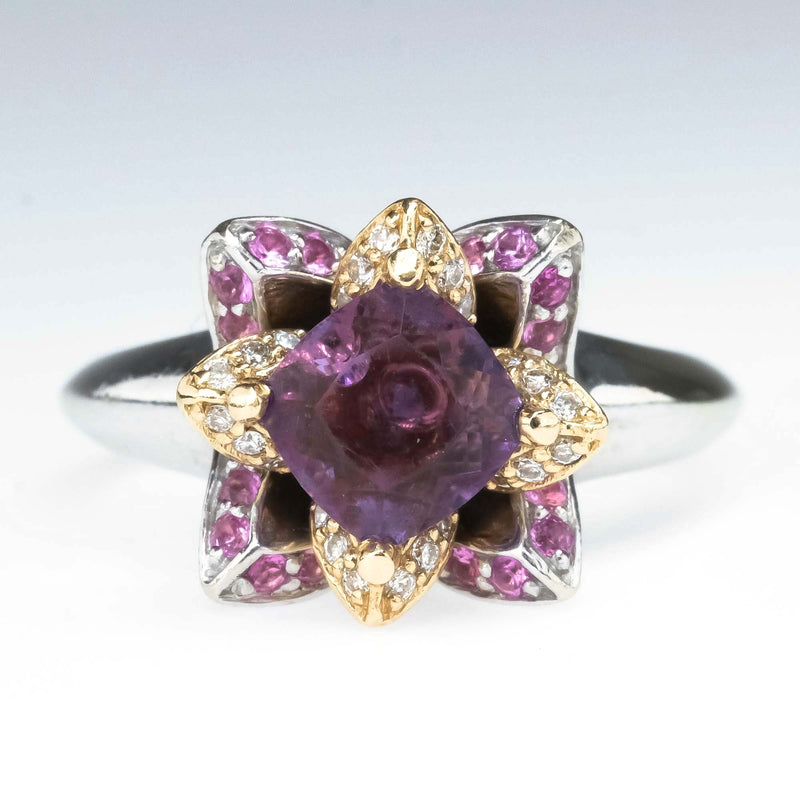 Cushion Amethyst with Diamond & Pink Sapphire Lotus Ring in 14K Two Tone Gold Gemstone Rings Oaks Jewelry
