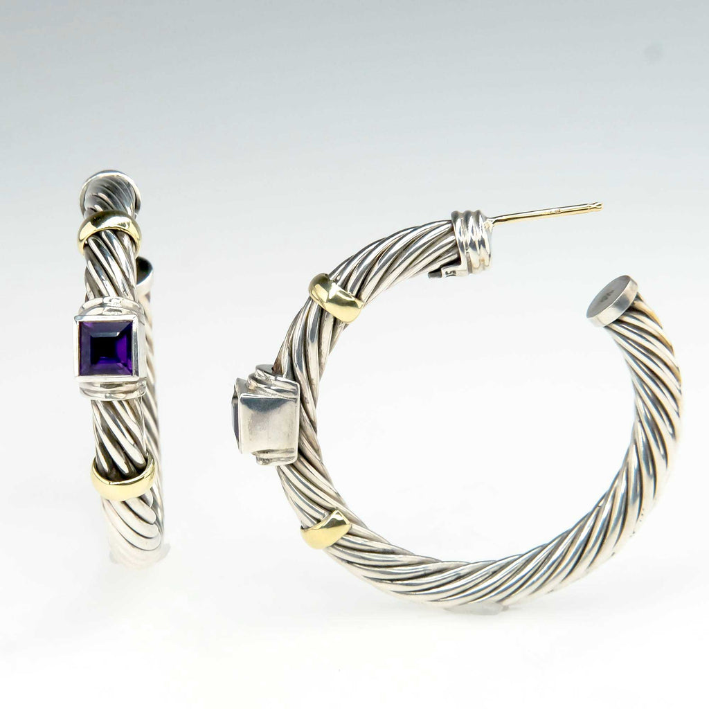 David Yurman Amethyst Cable Hoop Earrings in Sterling Silver and 14K Yellow Gold Earrings David Yurman