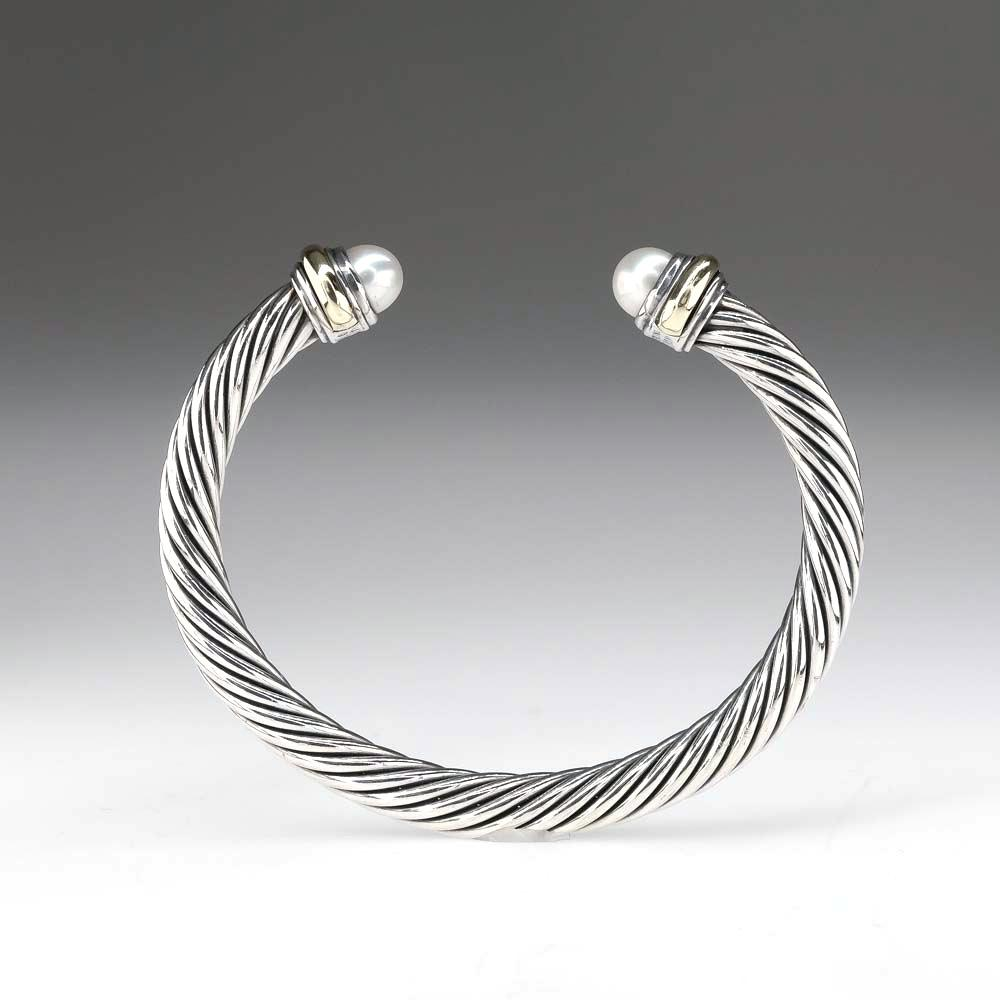 David Yurman Cable Collection Pearl Bangle in Sterling Silver & 14K Yellow Gold Bracelets David Yurman