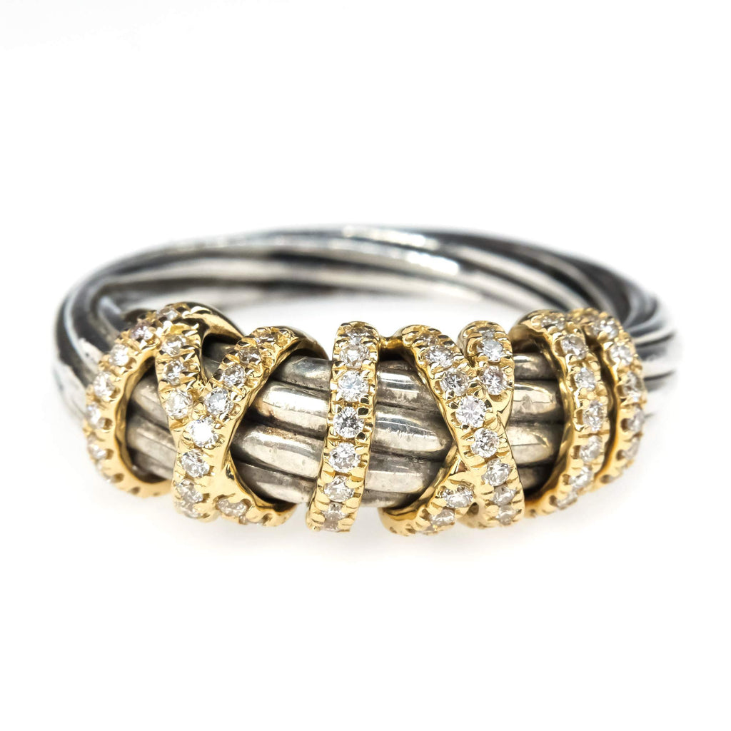 David Yurman Helena Ring with Diamonds and 18K Gold Diamond Rings David Yurman