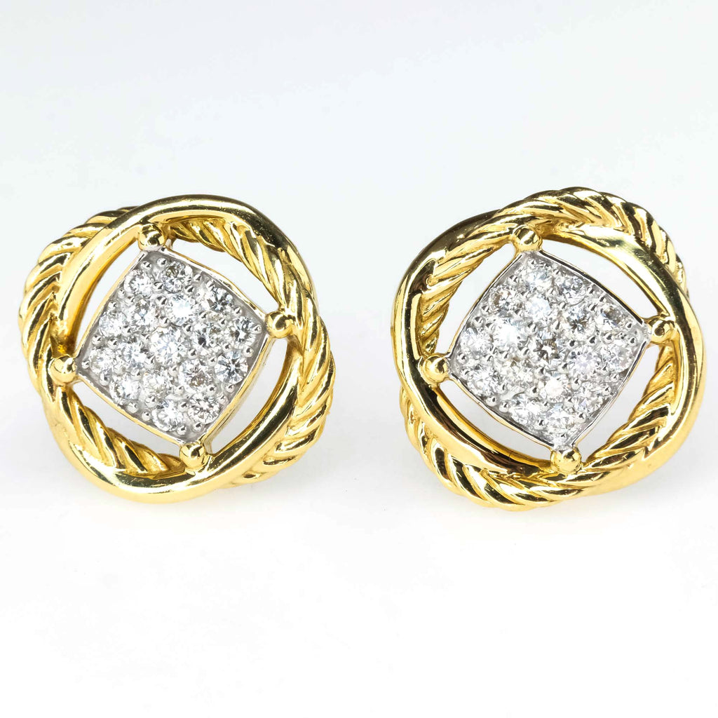 David Yurman Infinity Crossover Pave Diamond Stud Earrings in 18K Yellow Gold Earrings David Yurman