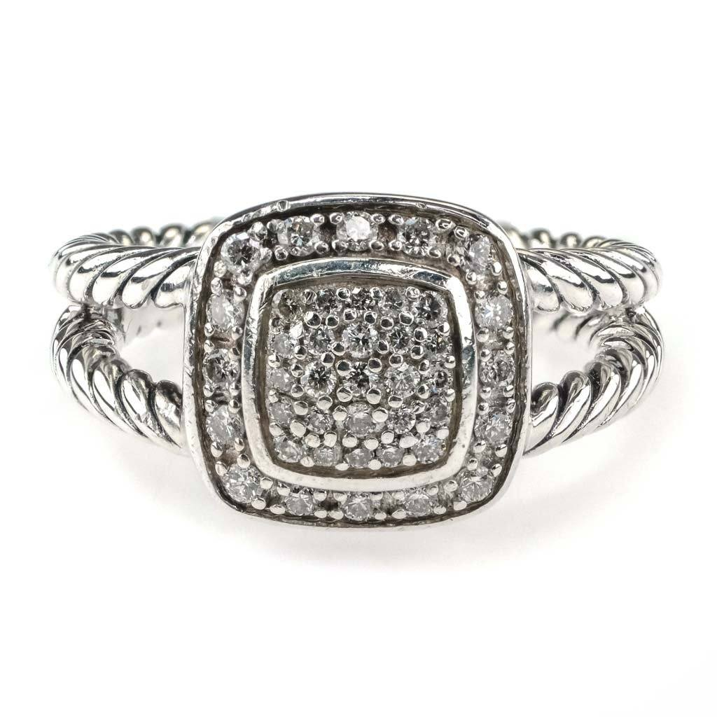 David Yurman Petite Albion Diamond Halo Cluster Ring 0.29ctw in Sterling Silver Diamond Rings David Yurman