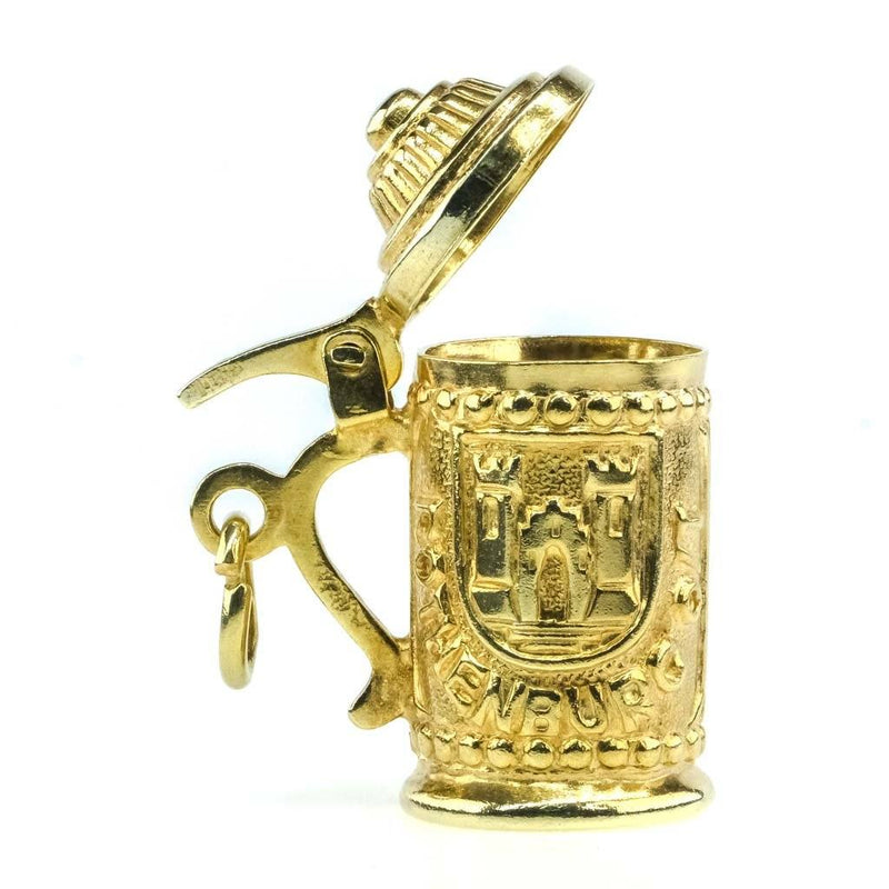 Detailed Beer Stein of Rothenburg Charm Pendant in 14K Yellow Gold Pendants Oaks Jewelry