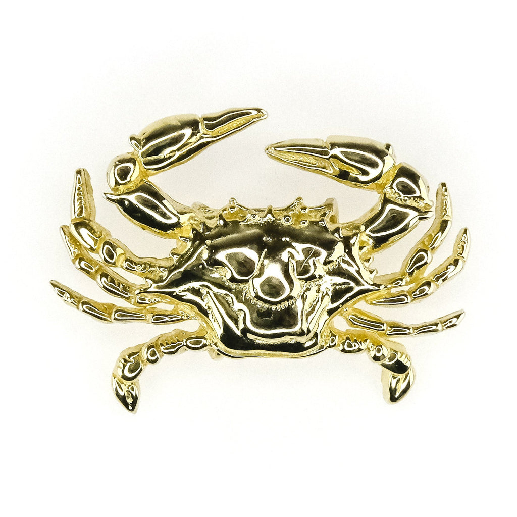 Detailed Etched Textured Large Crab Slide Pendant Charm in 14K Yellow Gold Pendants Oaks Jewelry