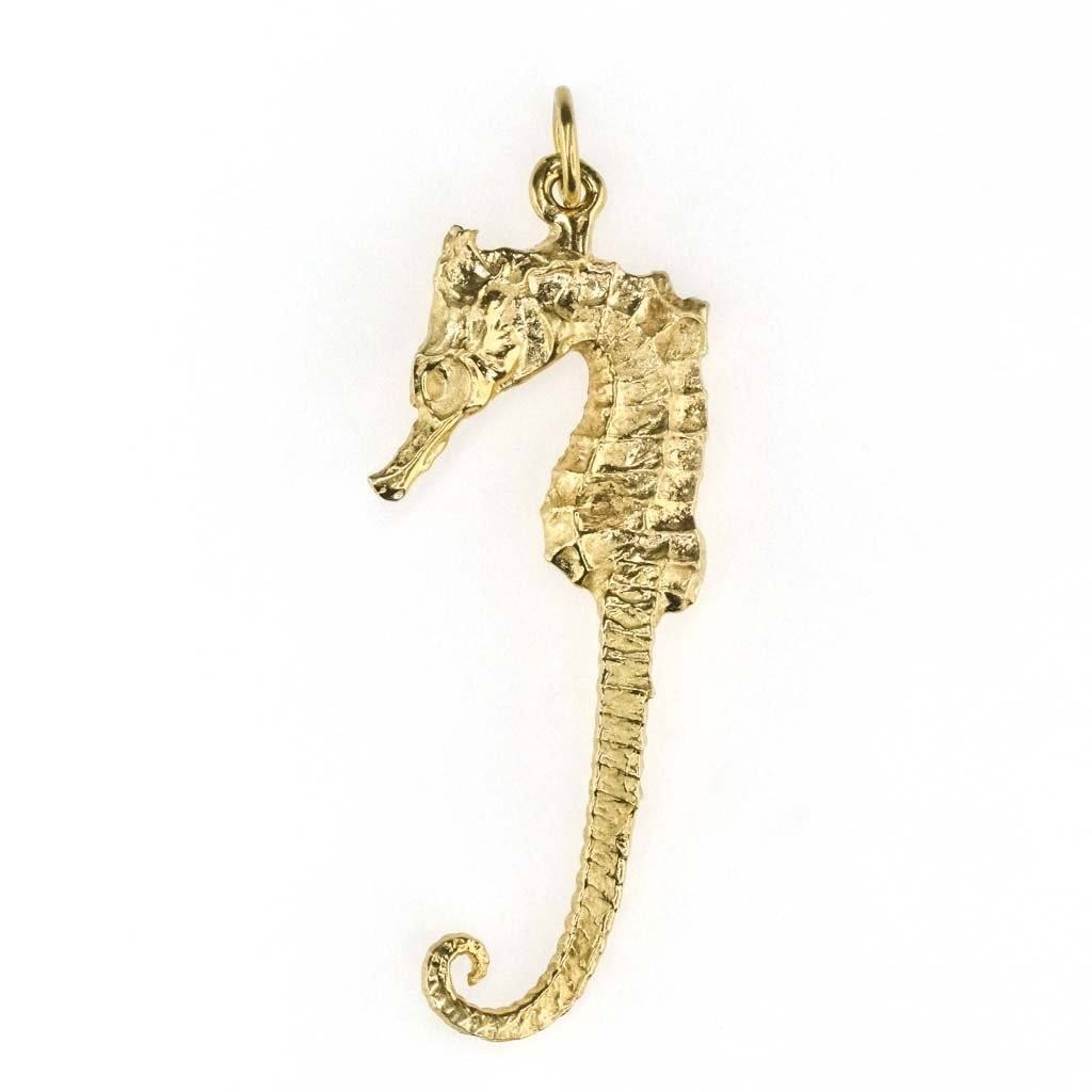 Detailed Seahorse Pendant in 14K Yellow Gold Pendants Oaks Jewelry