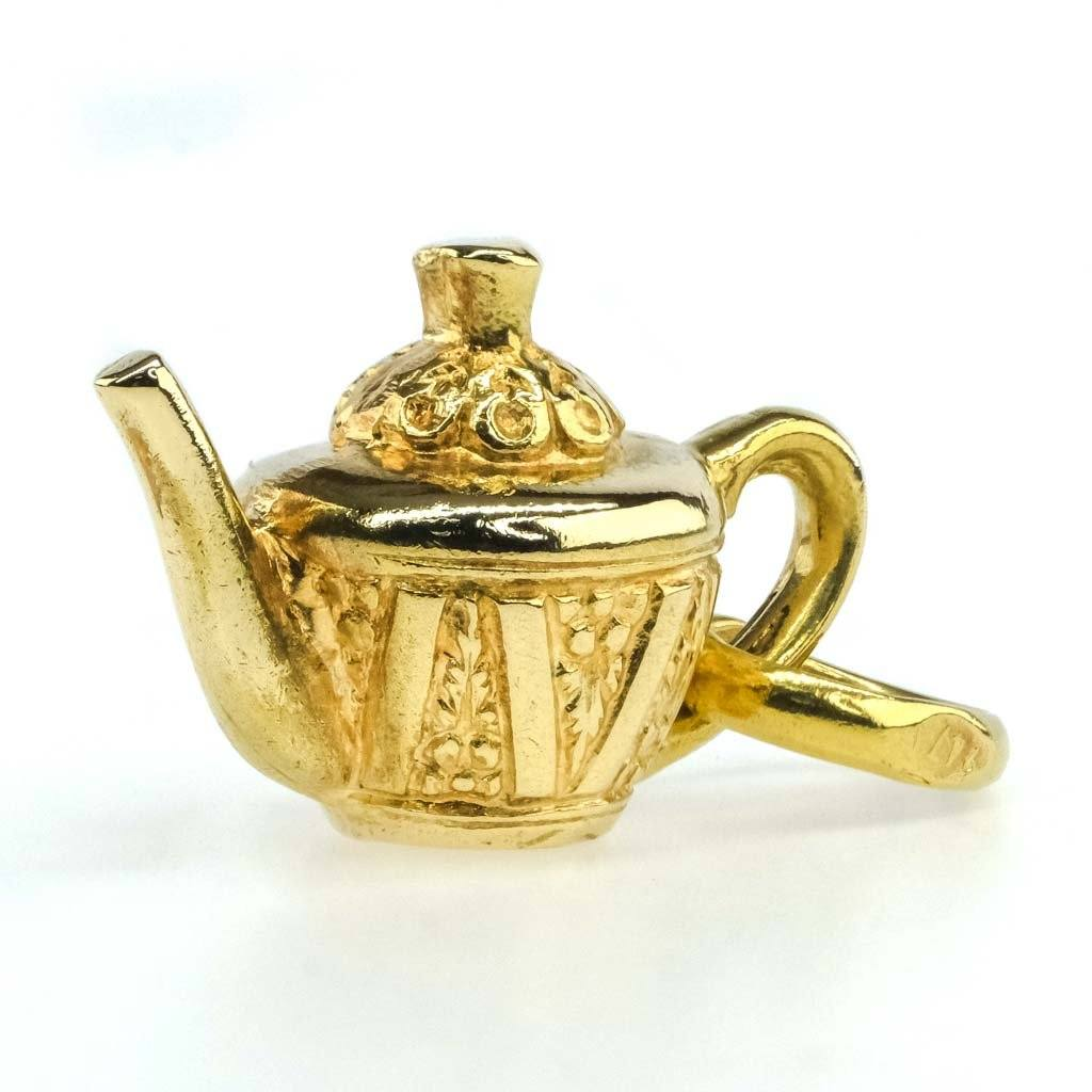 Detailed Teapot Charm Pendant in 18K Yellow Gold Pendants Oaks Jewelry