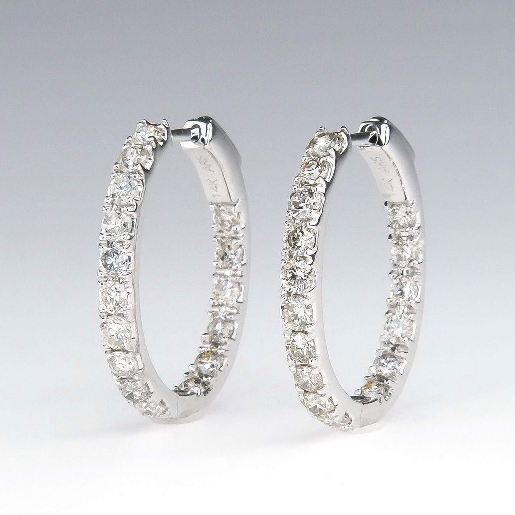 Diamond 2.00ctw Inside Out Hoop Earrings in 14K White Gold Earrings Oaks Jewelry