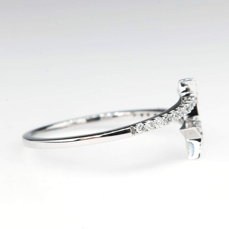 Diamond Accented Arrow Wrap Ring in 10K White Gold Diamond Rings Oaks Jewelry