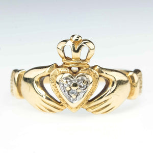 Diamond Accented Claddagh Ring in 14K Yellow Gold Diamond Rings Oaks Jewelry