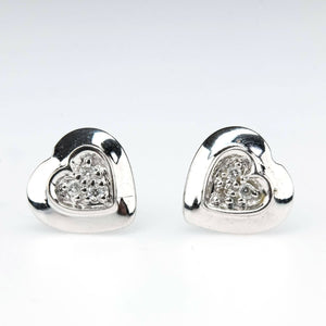 Diamond Accented Heart Shaped Small Stud Earrings in 14K White Gold Earrings Oaks Jewelry