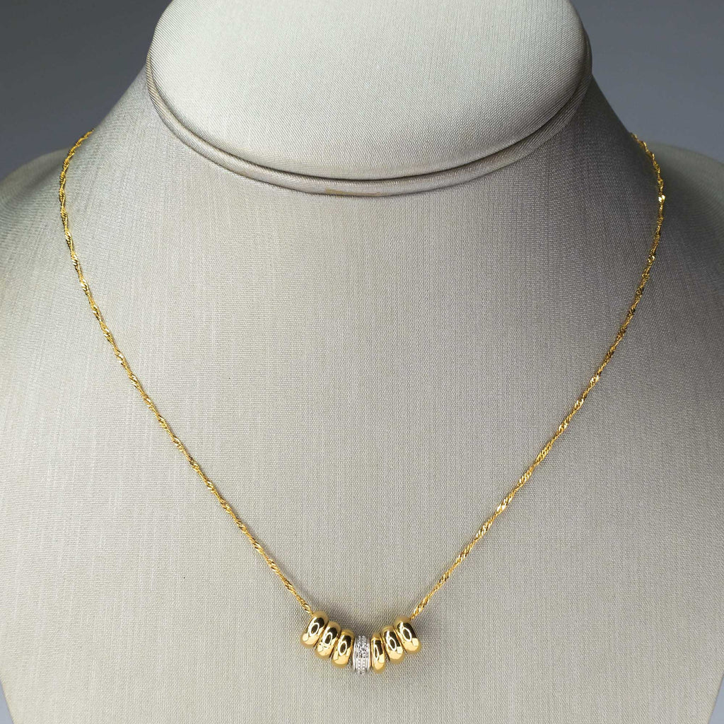 "Diamond Accented Multi Ring Pendant on 18"" Necklace in 14K Two Tone Gold Pendants with Chains Oaks Jewelry"