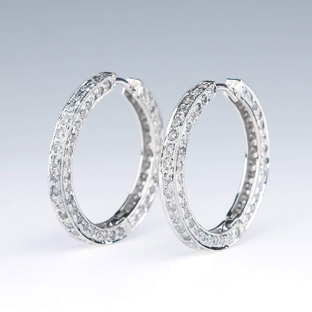Diamond and Milgrain Accented Hoop Earrings in 14K White Gold Earrings Oaks Jewelry