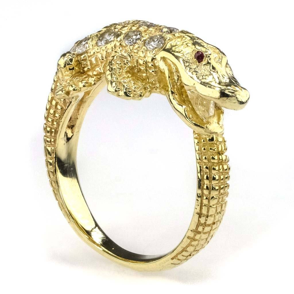 Diamond and Ruby Detailed Alligator Ring in 14K Yellow Gold Diamond Rings Oaks Jewelry