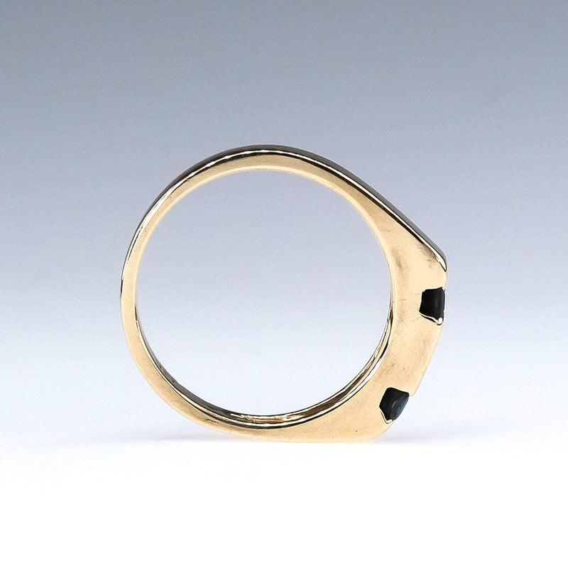 Diamond and Sapphire Geometric Stacking Ring in 14K Yellow Gold Diamond Rings Oaks Jewelry