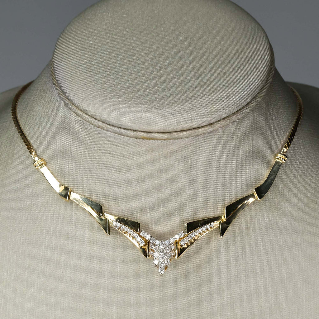 "Diamond Cluster Geometric Chevron 16"" Necklace in 14K Yellow Gold Necklaces Oaks Jewelry"