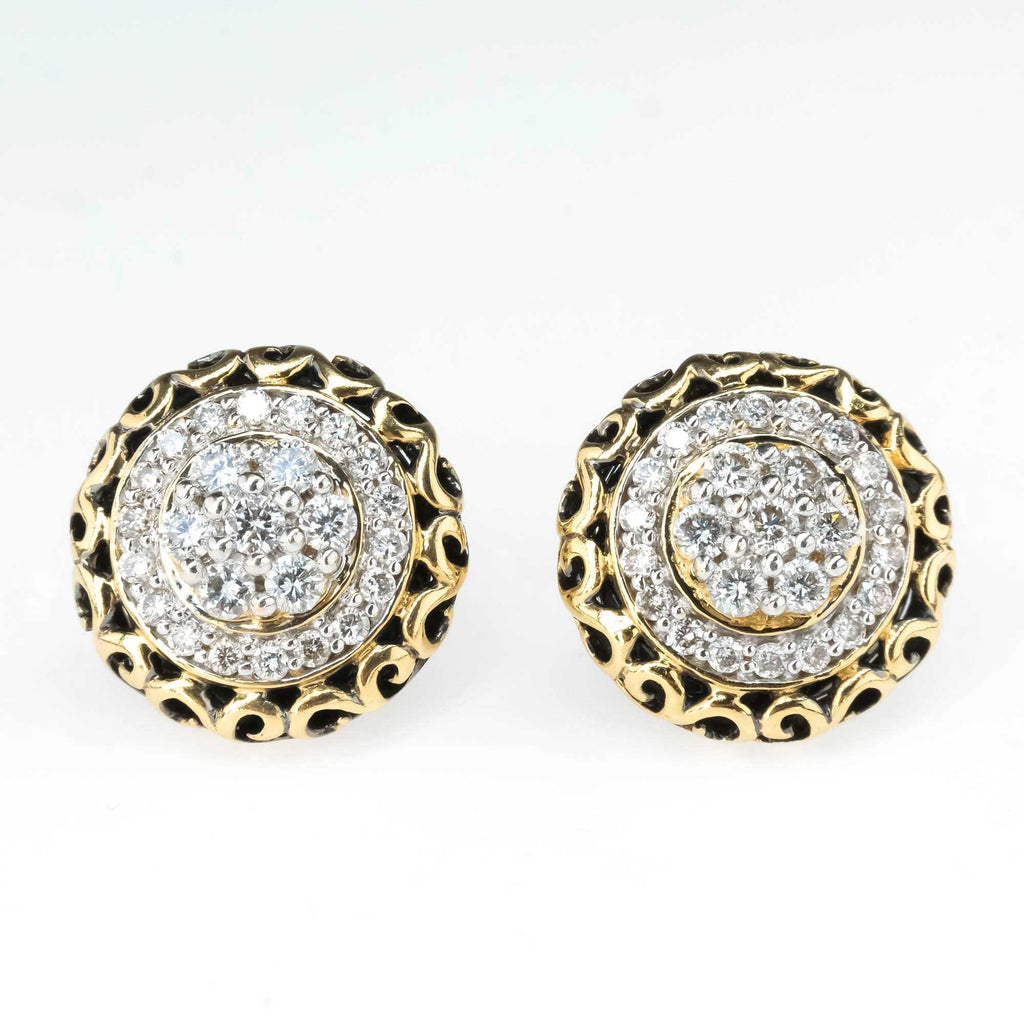 Diamond Cluster Halo Earrings in 14K Yellow Gold Earrings Oaks Jewelry