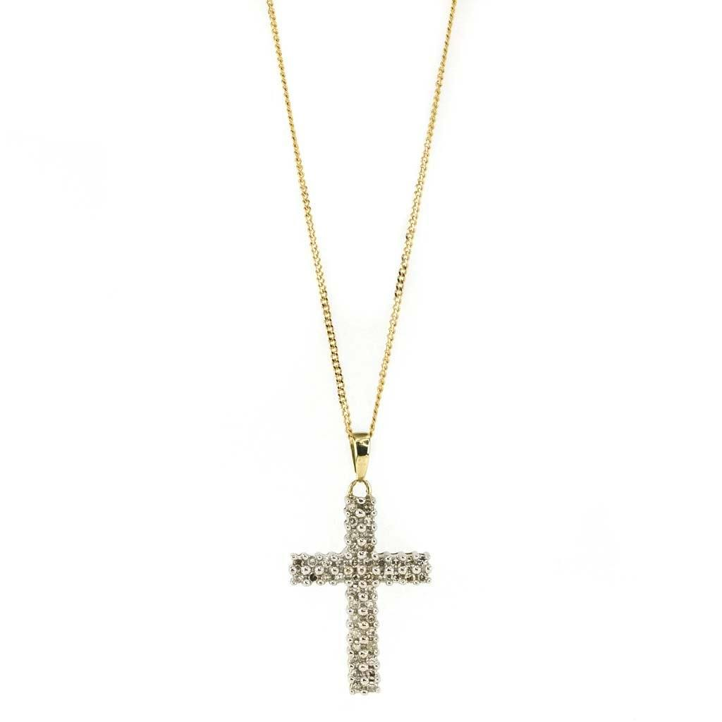 "Diamond Cross Pendant 18"" Chain 0.20ctw in 10K Yellow Gold Pendants with Chains Oaks Jewelry"