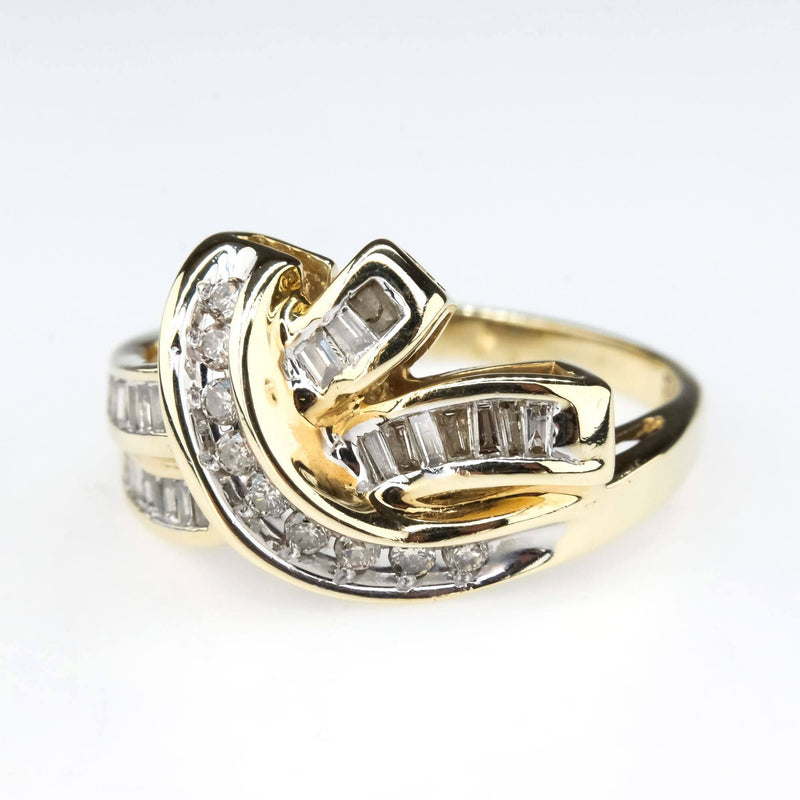 Diamond Crossover Cluster Ring in 10K Yellow Gold Diamond Rings Oaks Jewelry