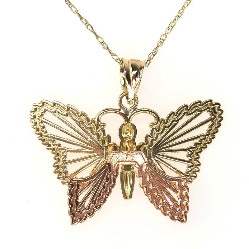 "Diamond Cut Butterfly Pendant and 19"" Chain in 10K Two Tone Gold Pendants with Chains Oaks Jewelry"