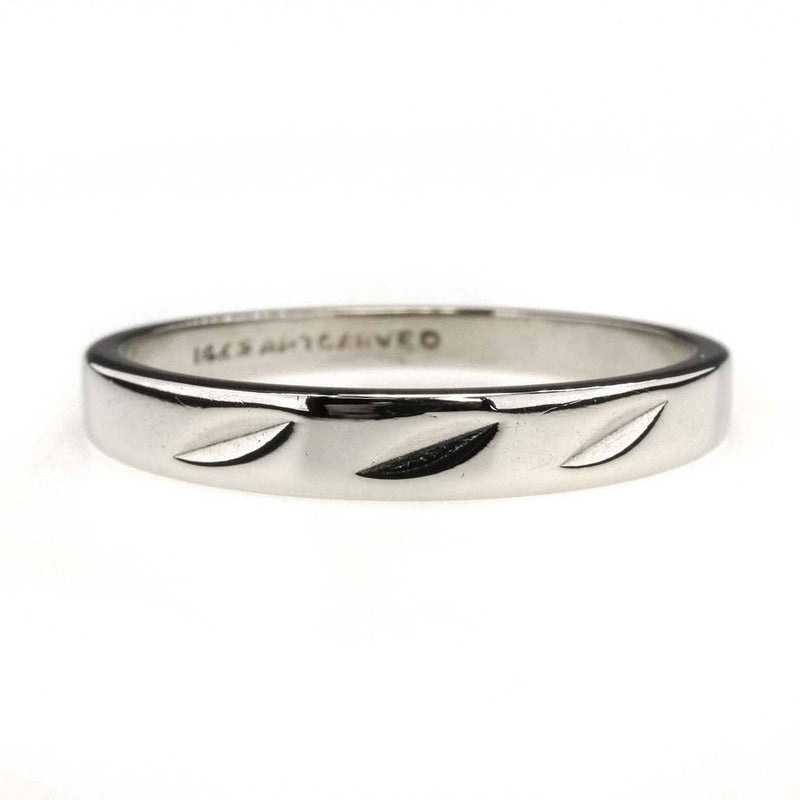 Diamond Cut Design Tapered Wedding Band in 14K White Gold Wedding Rings Oaks Jewelry