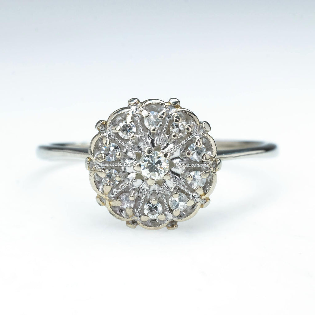 Diamond Floral Halo Vintage Engagement Ring in 10K White Gold Engagement Rings Oaks Jewelry