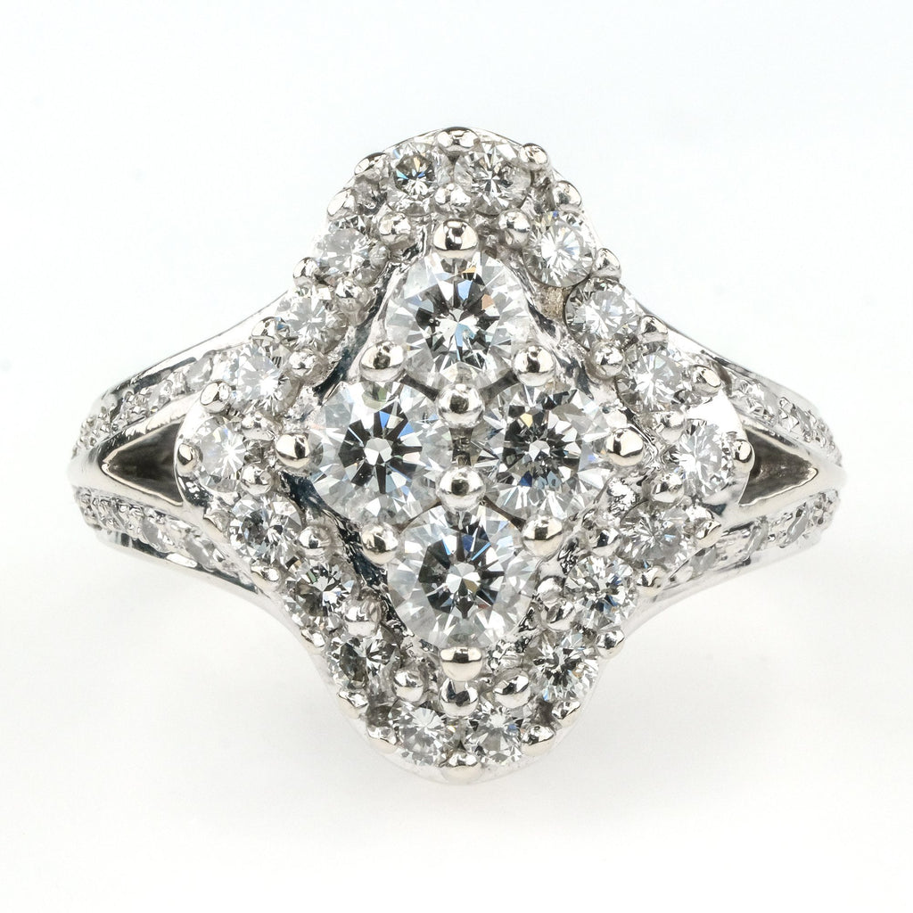 Diamond Halo Cluster Geometric Ring 2.00ctw in 14K White Gold Diamond Rings Oaks Jewelry