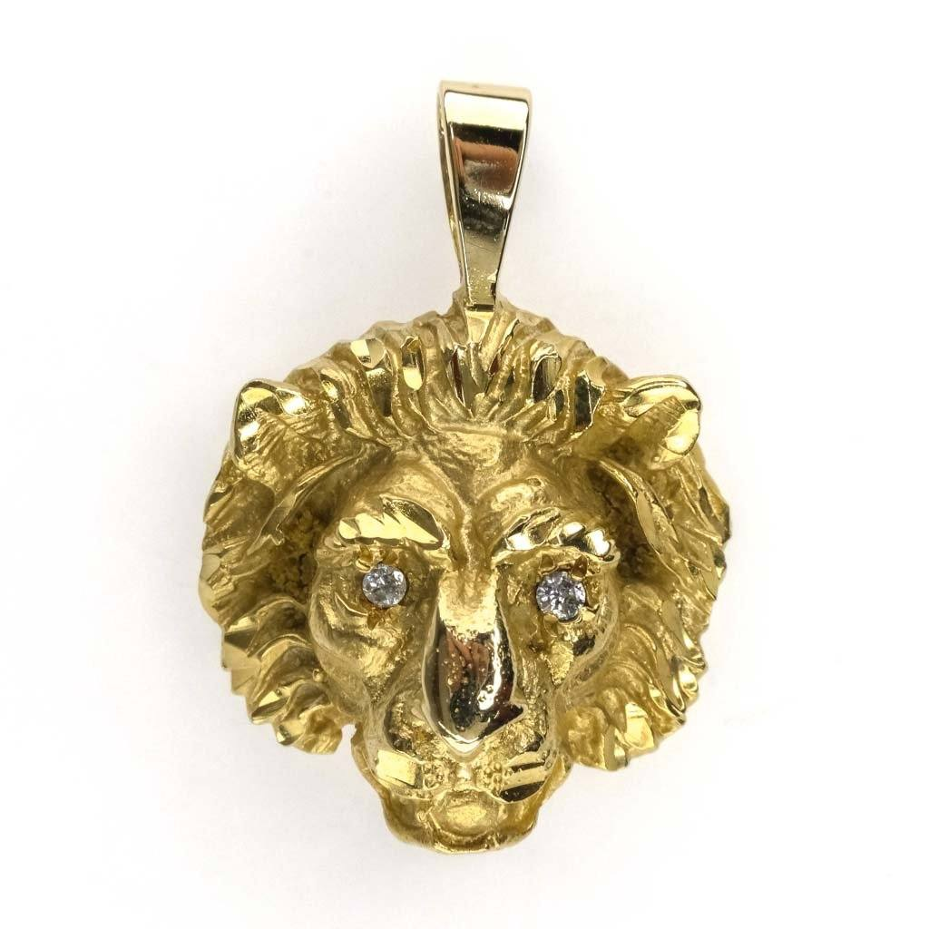 Diamond Lion Head Pendant in 14K Yellow Gold Pendants Oaks Jewelry