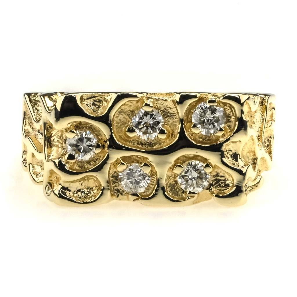 Diamond Men's Nugget Ring 0.50ctw in 14K Yellow Gold Diamond Rings Oaks Jewelry