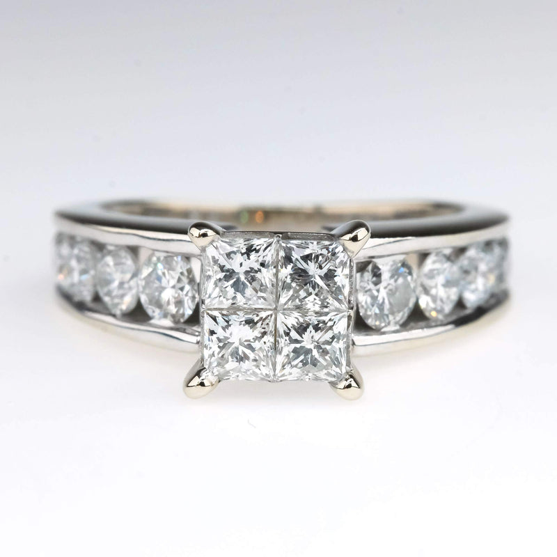 Diamond Quad Cluster 2.10ctw Engagement Ring with Side Accents in 14K White Gold Engagement Rings Oaks Jewelry