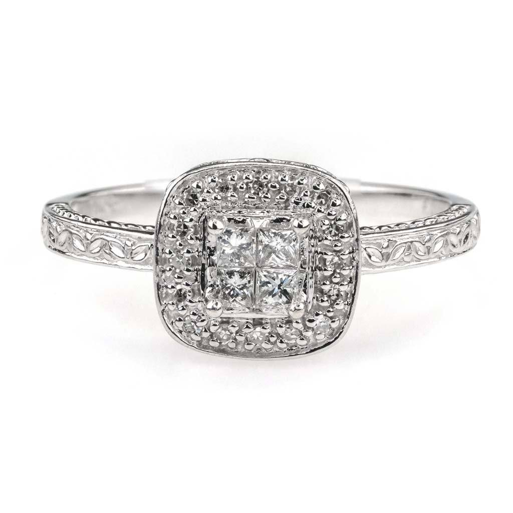 Diamond Quad w/ Halo Engagement Ring 0.25ctw in 10K White Gold Engagement Rings Oaks Jewelry