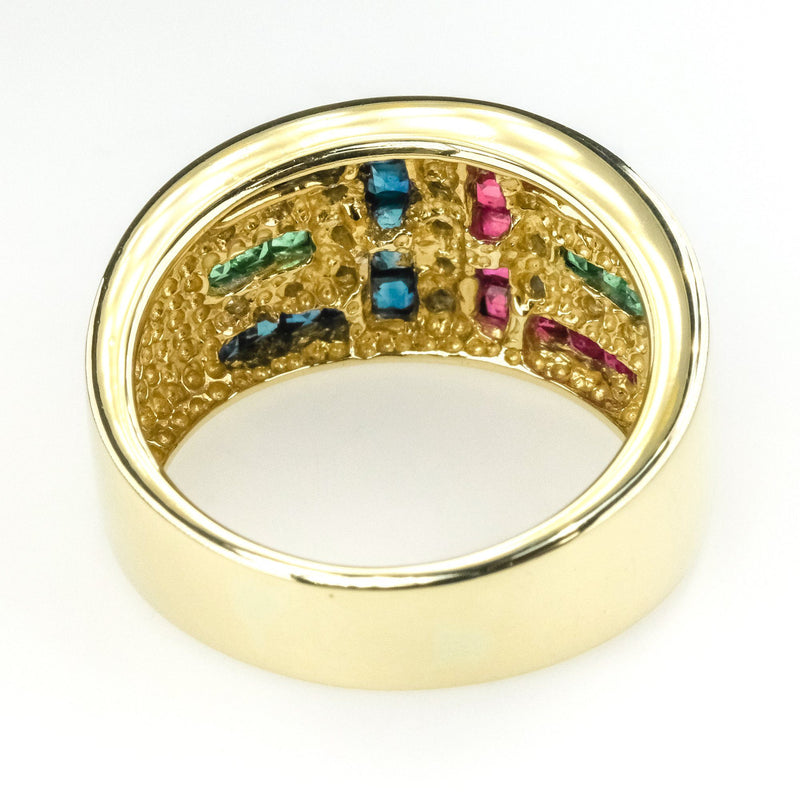 Diamond, Ruby, Emerald, And Sapphire Accented Gemstone Ring in 14K Yellow Gold Gemstone Rings Oaks Jewelry