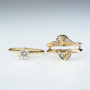 Diamond Solitaire Yellow Gold Engagement Ring & Diamond Jacket Wedding Ring Set Bridal Sets Oaks Jewelry