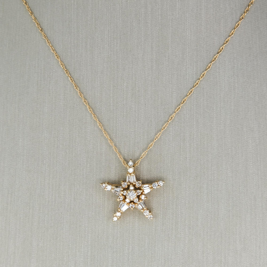 "Diamond Star Pendant 18"" Necklace in 14K Yellow Gold Pendants with Chains Oaks Jewelry"