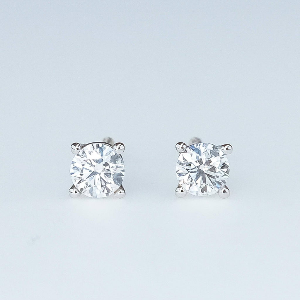Diamond Stud Screw-back Earrings in 18K White Gold Earrings Oaks Jewelry