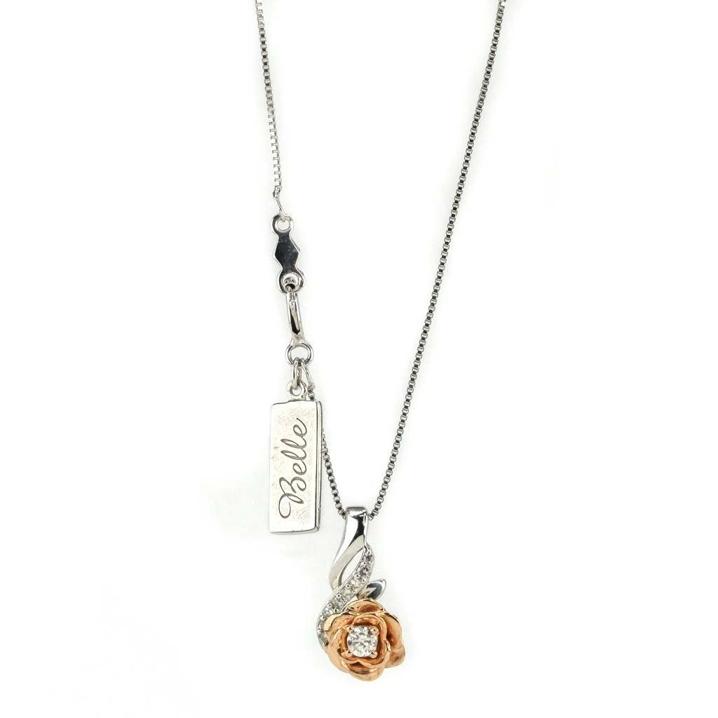 "Disney Belle Diamond Pendant 18"" Chain in 14K Rose Gold over Sterling Silver Pendants with Chains Disney"