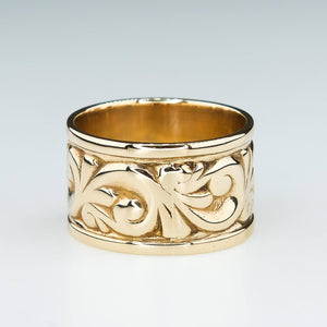 Ed Levin Wide Band Flourish Ring in 14K Yellow Gold Size 7 Metal Rings Ed Levin