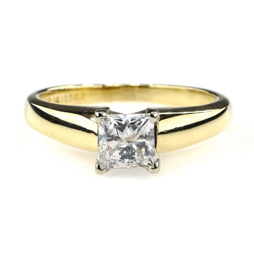 EGL Graded Princess Cut Diamond Solitaire Engagement Ring 1.00ct 14K Yellow Gold Engagement Rings Oaks Jewelry