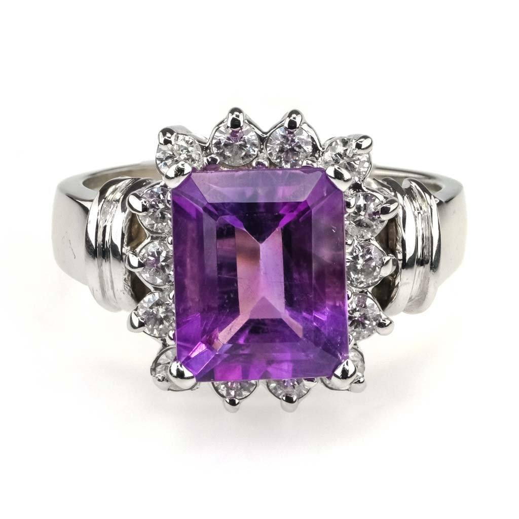 Emerald Amethyst & Diamond Halo Ring in 14K White Gold Gemstone Rings Oaks Jewelry