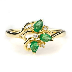 Emerald and Diamond Gemstone Ring in 14K Yellow Gold Gemstone Rings Oaks Jewelry