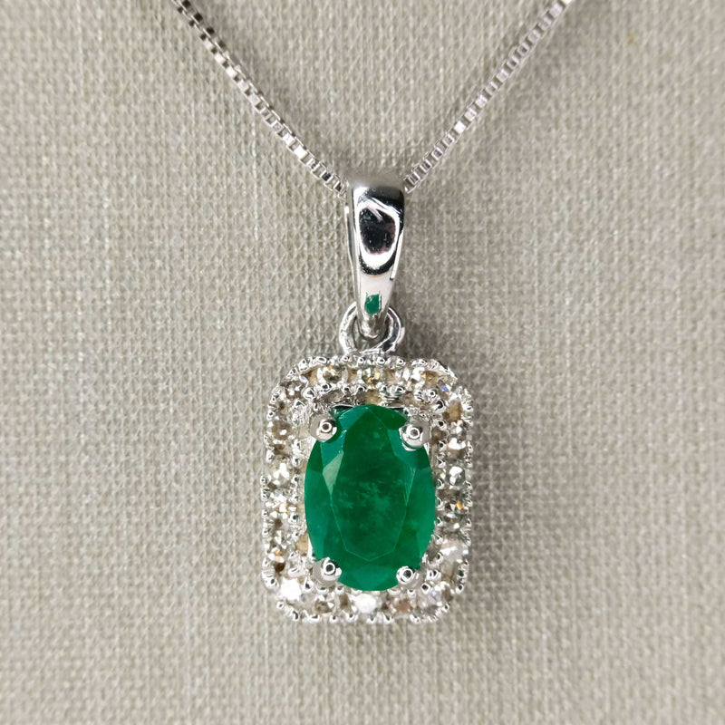 "Emerald and Diamond Pendant on 18"" Box Chain in 10K/14K White Gold Pendants with Chains Oaks Jewelry"