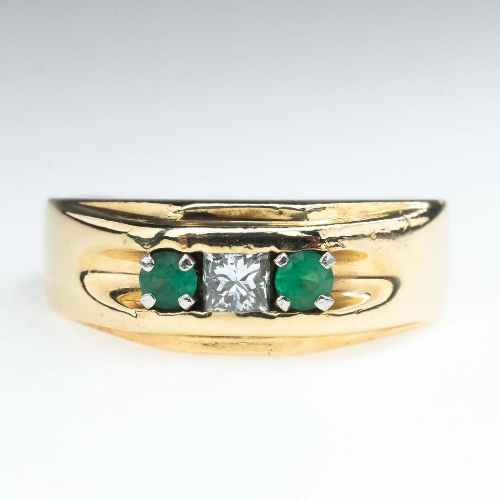 Emerald and Diamond Three Stone Gents Ring in 14K Yellow Gold Diamond Rings Oaks Jewelry