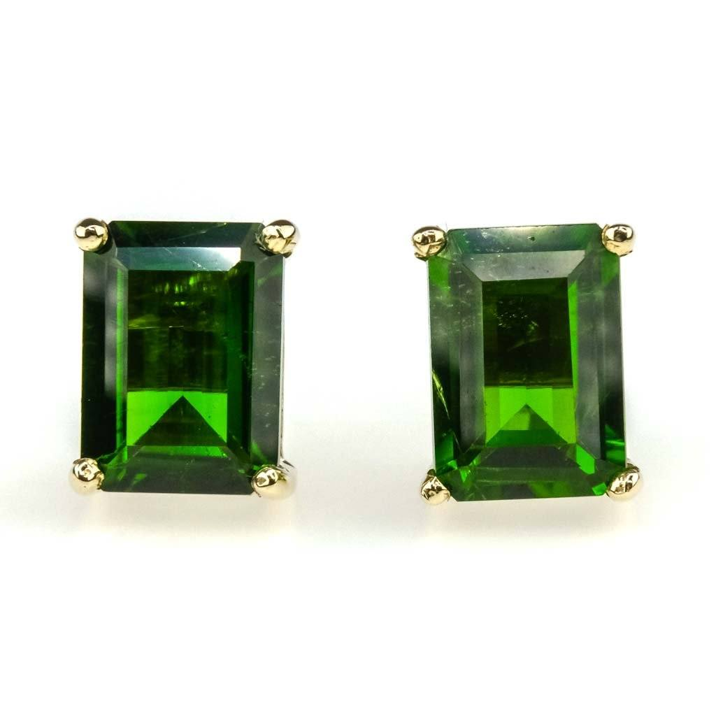 Emerald Cut Tourmaline Solitaire Stud Earrings 2.00ctw in 10K Yellow Gold Earrings Oaks Jewelry