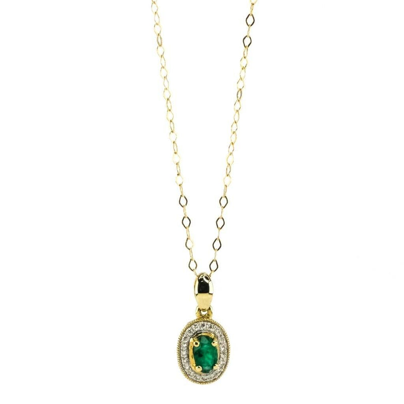 "Emerald & Diamond Halo Pendant 24"" Necklace in 14K Yellow Gold Pendants with Chains Oaks Jewelry"