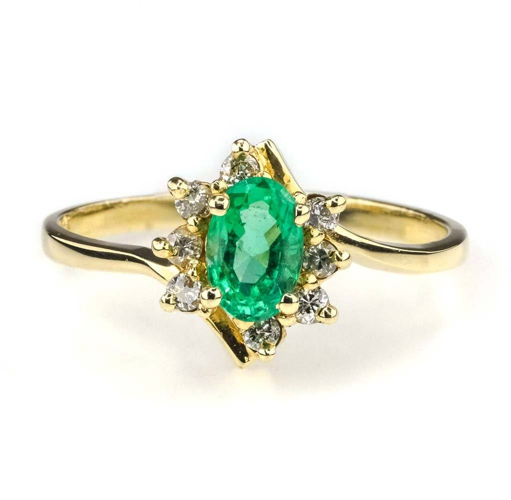 Emerald & Diamond Halo Ring in 14K Yellow Gold Gemstone Rings Oaks Jewelry