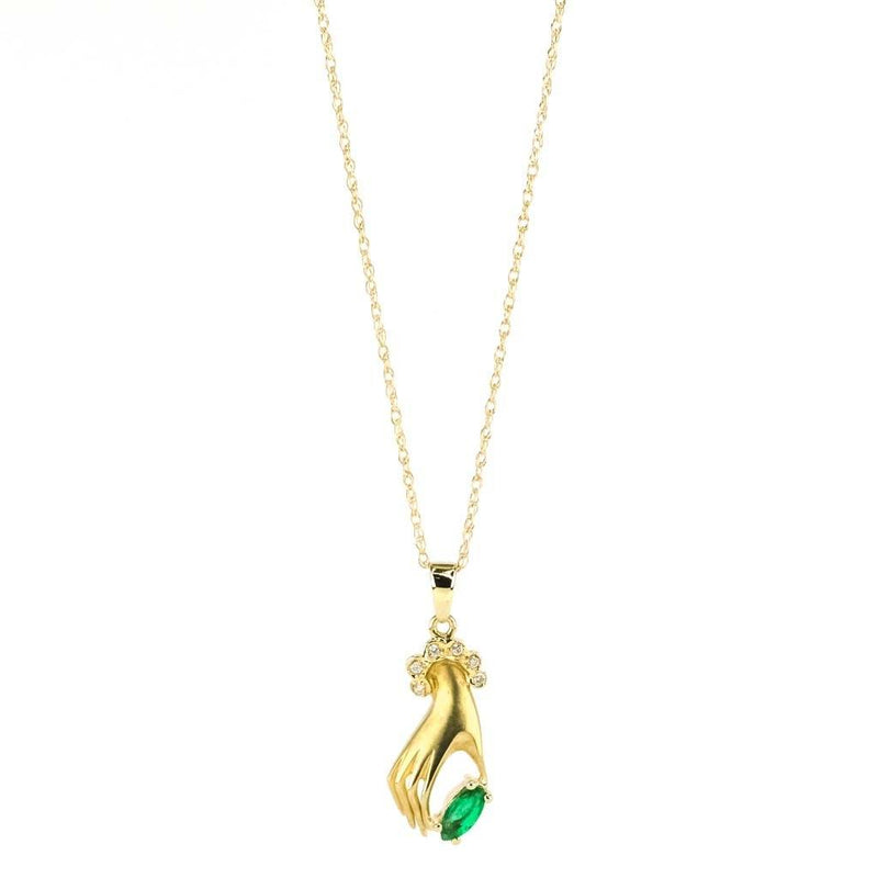 "Emerald & Diamond Hand Pendant 18"" Necklace in 14K Yellow Gold Pendants with Chains Oaks Jewelry"
