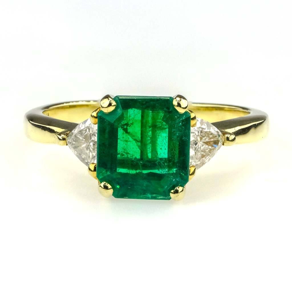 Emerald & Diamond Three Stone Ring in 18K Yellow Gold Gemstone Rings Oaks Jewelry